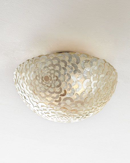 Capiz Floral Flush-Mount Light Fixture