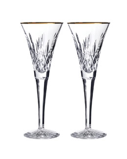 Waterford Crystal Two Lismore Toasting Flutes