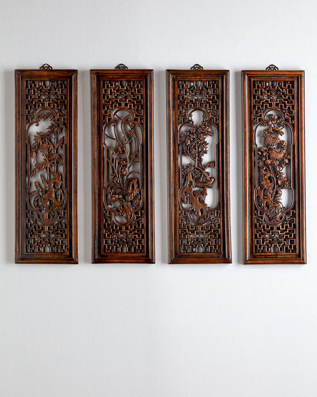 Four Antique Chinese Wall Panels