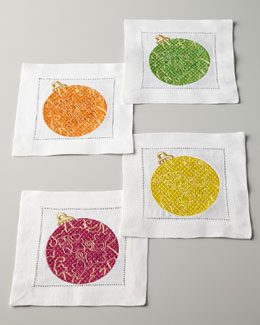 SFERRA Four Embroidered Ornament Cocktail Napkins