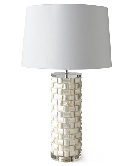 Basketweave Capiz Shell Lamp