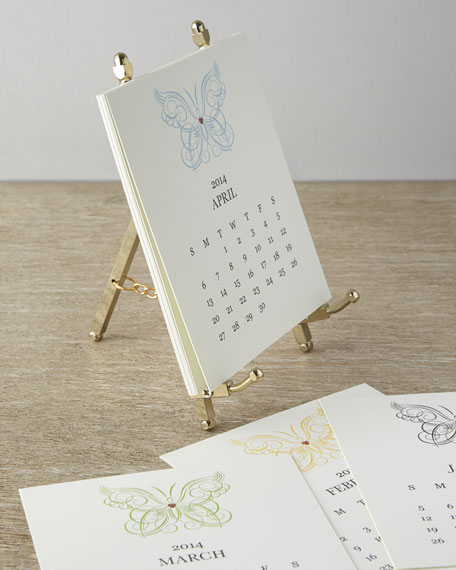 Calendar Wood Stand : Paper calendar with metal stand