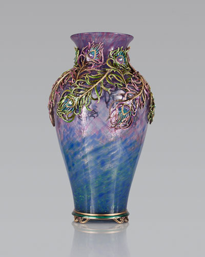 Jay Strongwater Grand Peacock Vase