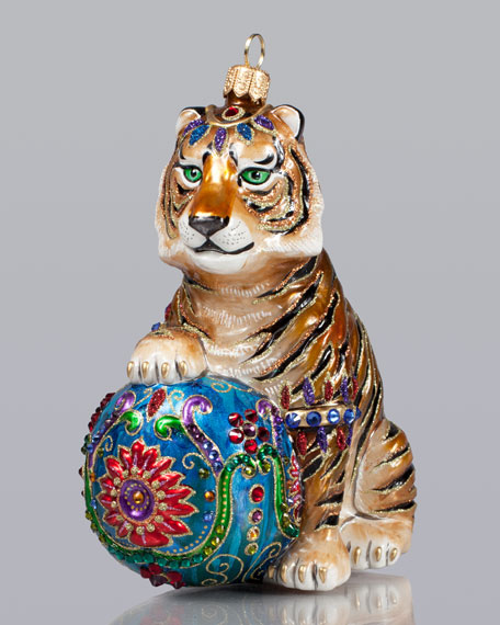 Tiger With Ball Christmas Ornament