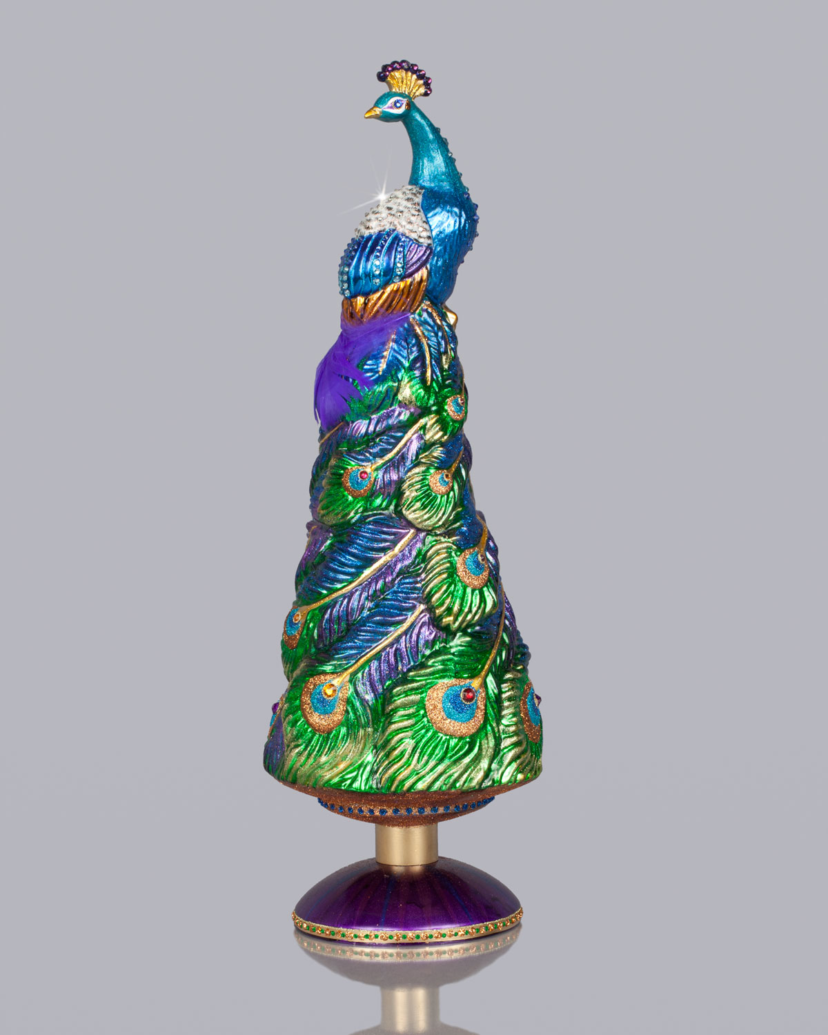 Grand Peacock Christmas Tree Topper