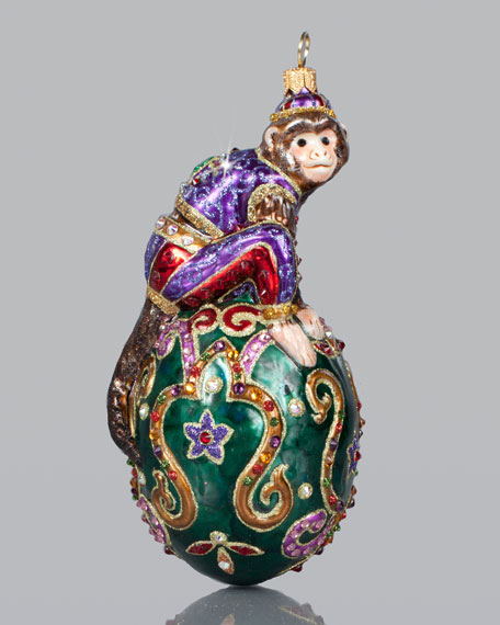 - Jay Strongwater Monkey In An Egg Christmas Ornament