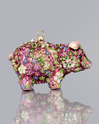 Jay Strongwater Blossom Pig Christmas Ornament