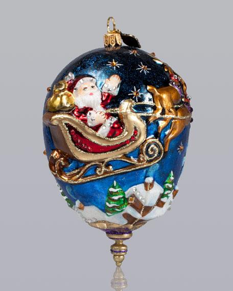 Santa with Reindeer Christmas Ornament