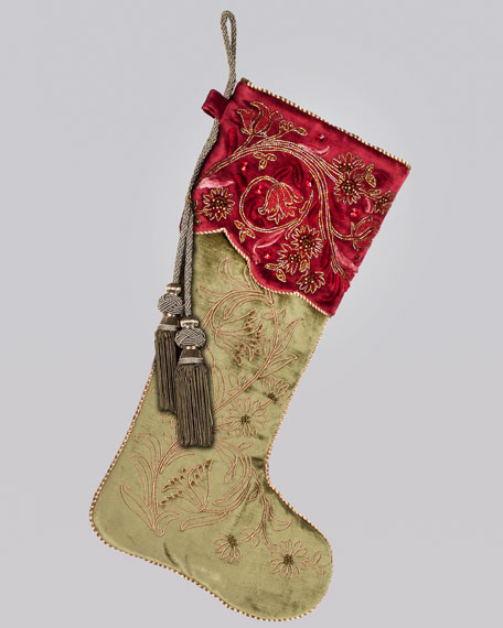 Floral Vine Christmas Stocking