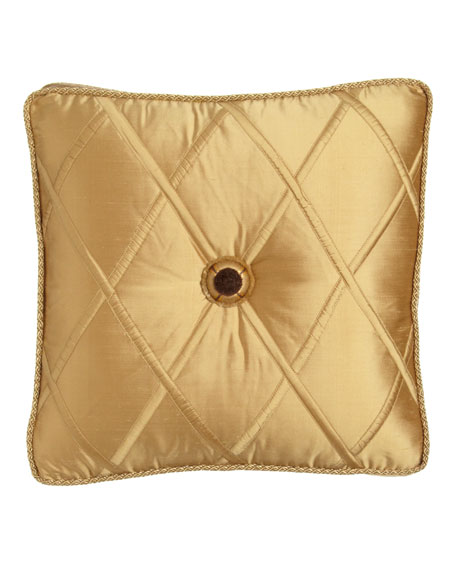 """Gold Box Pillow with Rosette Center, 18""""Sq."""