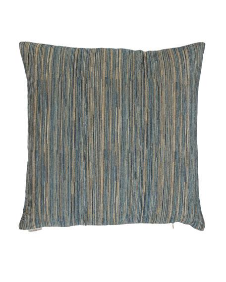Avery Aqua Fine-Stripe Pillow, 22