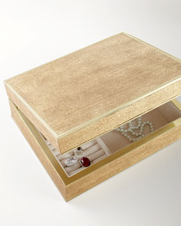 AERIN Large Gold Linen Jewelry Box