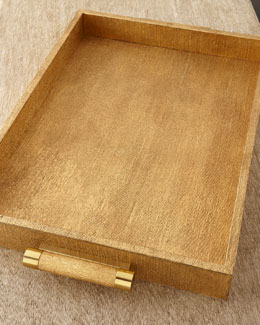AERIN Gold Linen Rectangular Tray