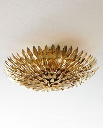 Golden Mum Flush-Mount Light Fixture