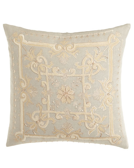 "Como Embroidered Linen Pillow, 22""Sq."