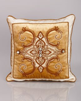 "Jay Strongwater Arabesque Pillow, 18""Sq."