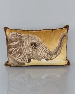 "Jay Strongwater Elephant Pillow, 16"" x 26"""
