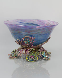 Jay Strongwater Charlotte Peacock Feather Glass Bowl