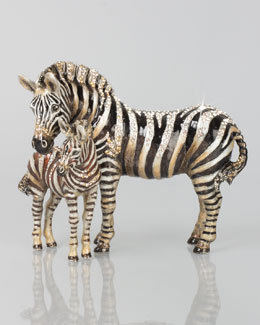Jay Strongwater Tabitha & Zane Mother and Baby Zebra Figurine