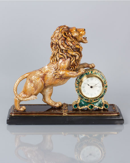 Jay Strongwater Augustus Lion Clock