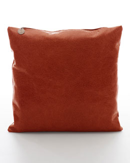 Brunello Cucinelli Crackled Leather Pillow, Ginger