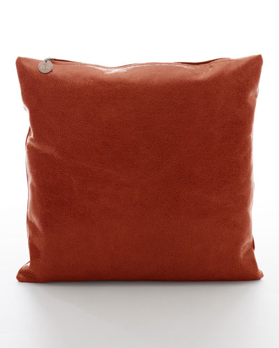 Crackled Leather Pillow, Ginger