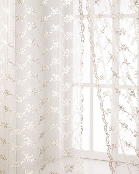"Each 53""W x 108""L Queen Anne Lace Sheer"