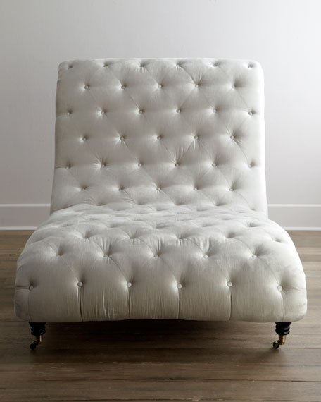 Tufted Silver Chaise