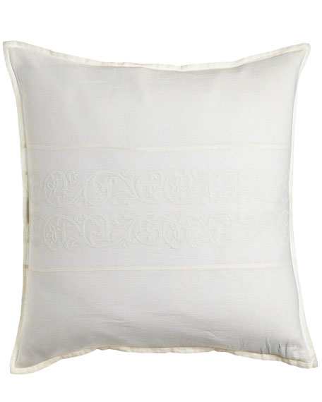 "Allegra Pillow with Embroidered Inset, 18""Sq."