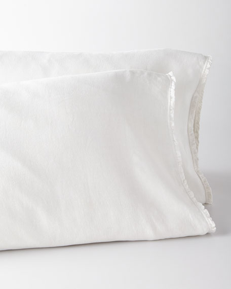 Two Standard  Charlie Ruffled White Linen Pillowcases