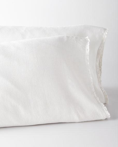 Two Standard  Charlie Ruffled White Linen Pillowcases