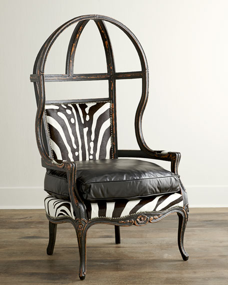 Old Hickory Tannery Zebra Balloon Chair Neiman Marcus