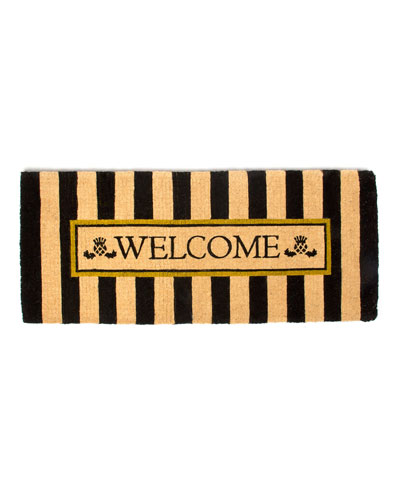 Awning Stripe Double Door Welcome Doormat