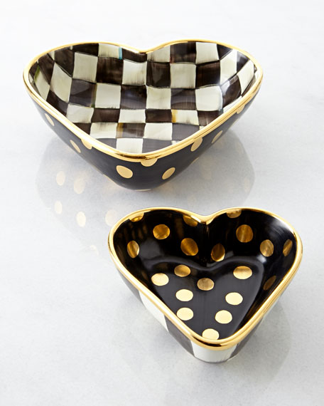 MacKenzie-Childs Large Courtly Check Heart Bowl
