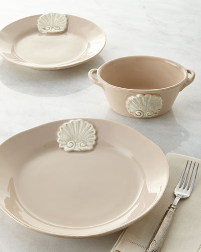 Four Shell-Motif Salad Plates