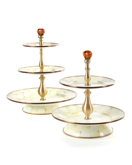 Parchment Check 3-Tier Sweet Stand