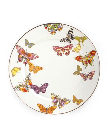 White Butterfly Garden Dinner Plate