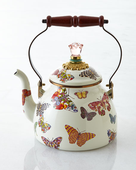 MacKenzie-Childs Butterfly Garden White 3-Quart Tea Kettle