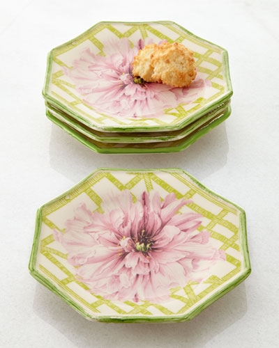 Four Peony/Trellis Cocktail Plates