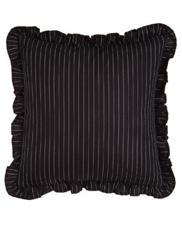"Ralph Lauren Home Ruffled Pinstripe Pillow, 18""Sq."