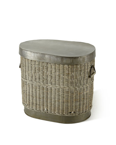 Oval Rattan Hamper Basket with Metal Top