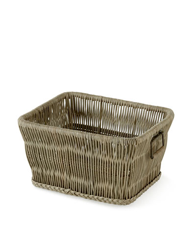 Rattan Basket with Wrought-Iron Handles