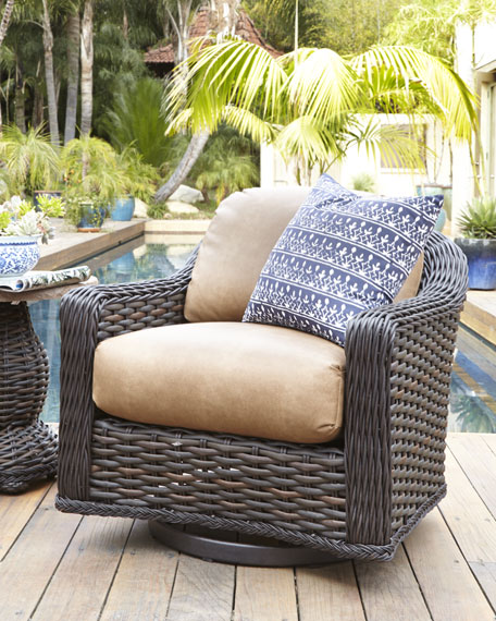 Madison Dark Outdoor Swivel Lounge Chair & Accent