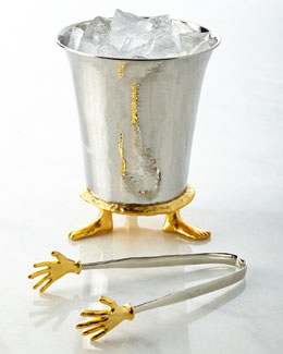 Michael Aram Footed Ice Bucket & Cold Hands Ice Tongs