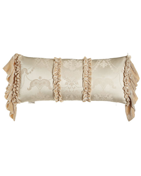 "Le Creme Maison Pillow with Long Velvet Ruffles at Sides, 12"" x 26"""