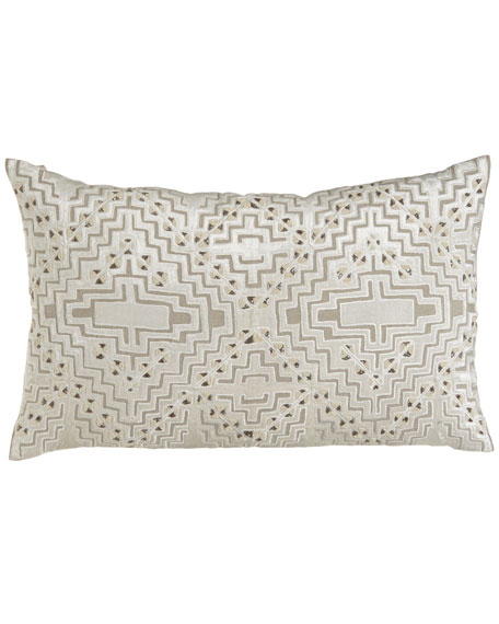 "Vincent Linen Pillow with Beaded Velvet Design, 30"" x 18"""