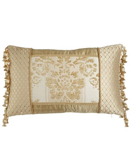 "Antoinette Pieced Boudoir Pillow with Side Onion-Tassel Fringe, 13"" x 19"""