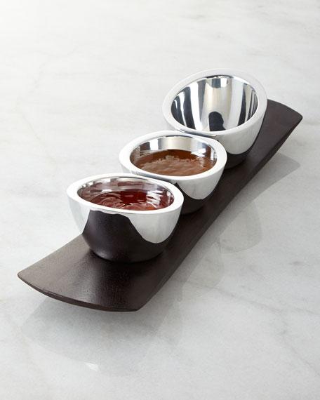 Nambe Espresso Trio Condiment Set
