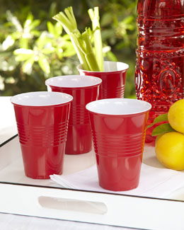 Four Red Melamine Cups
