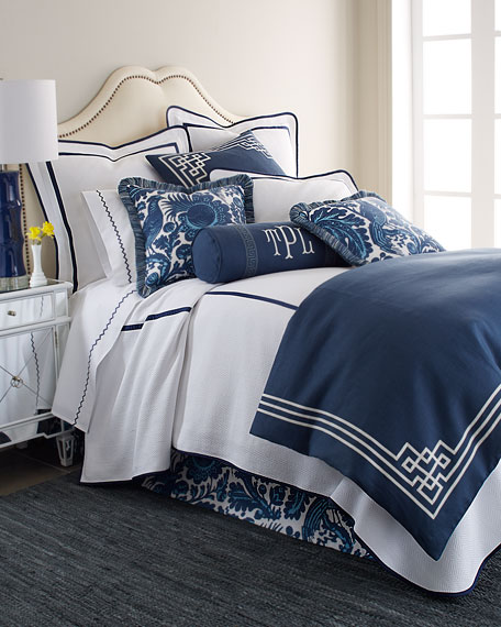 eastern accents standard white sham with navy trim
